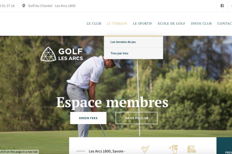 Site membres Golf des Arcs